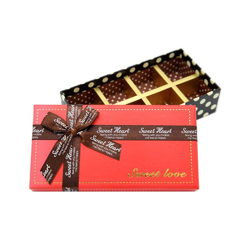 Gold Stamping Chocolate Paper Packaging With Bowknot
